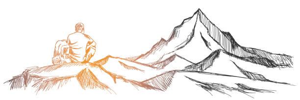 ilustrações de stock, clip art, desenhos animados e ícones de hiking man with rucksack in mountain in the morning - cooker happy