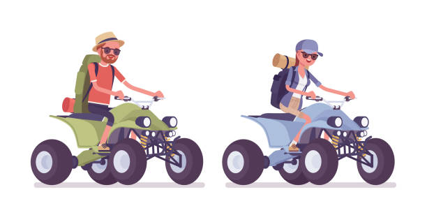 Hiking man, woman riding a quad bike Hiking man, woman riding a quad bike. Tourists with backpacking gear, wearing clothes for outdoor walks, sporting or leisure activity. Vector flat style cartoon illustration isolated, white background quadbike stock illustrations