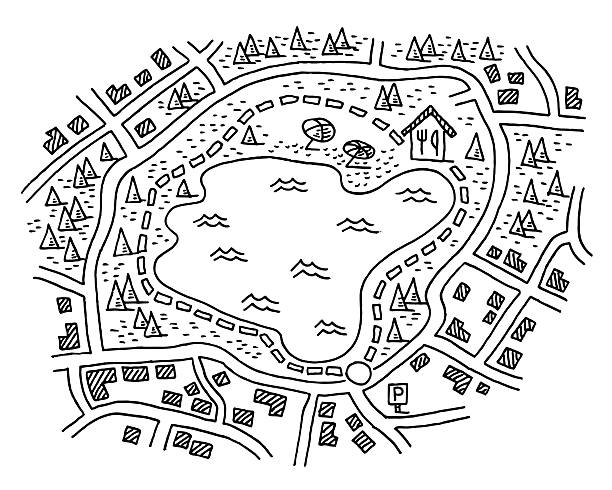 Hiking Map Path Around Lake Drawing Hand-drawn vector drawing of a Hiking Map with a Footpath Around a Lake. Black-and-White sketch on a transparent background (.eps-file). Included files are EPS (v10) and Hi-Res JPG. lakeshore stock illustrations