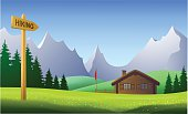 Mountain landscape on a beautiful day in the summertime. Download contains EPS 8, AI 8, AI CS5, PDF, JPEG (8296 x 5026px), no transparencies. All elements are in seperate layers and grouped.