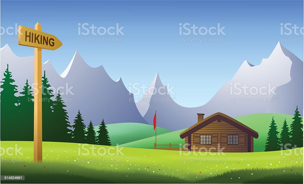 Hiking, mountain landscape on a beautiful day in the summertime vector art illustration