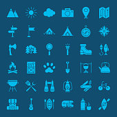 Hiking Outdoor Solid Web Icons. Vector Set of Camping Glyphs.