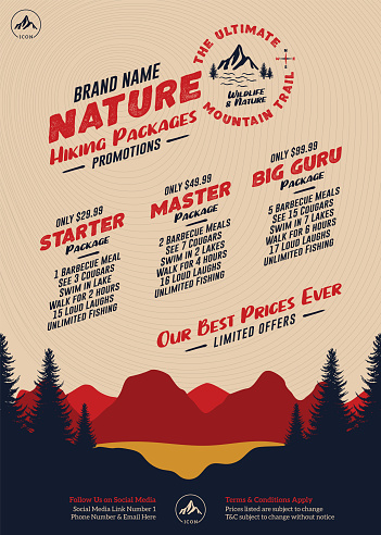 Hiking Packages Flyer or Poster with Sunset Nature Scenery of Forest Trees, Mountain Range and Lake for Hike Packages and Pricing
