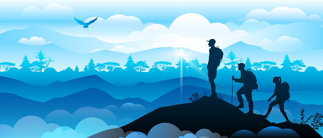 Hiking panoramic banner with people silhouettes on mountain top.