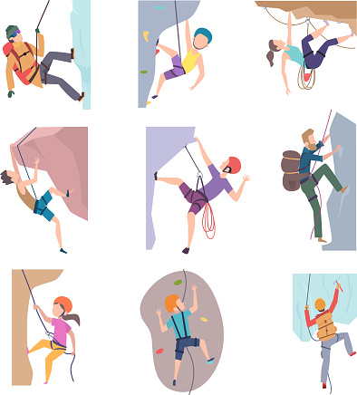 Hiking people. Extreme lifestyle mountain climbing characters kids and adults vector pictures