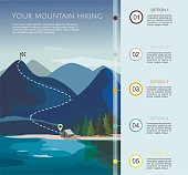 Hiking route infographic  template with a five steps. Layers of mountain landscape with fir trees. Vector illustration