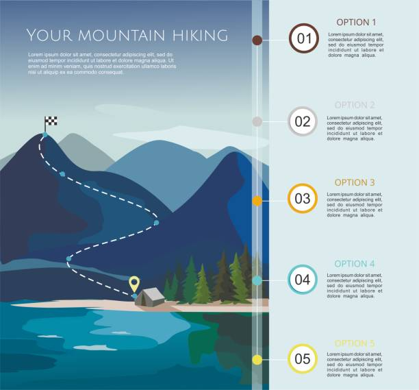 Hiking route infographic  template with a five steps. Layers of mountain landscape with fir trees. Hiking route infographic  template with a five steps. Layers of mountain landscape with fir trees. Vector illustration mountain climbing stock illustrations