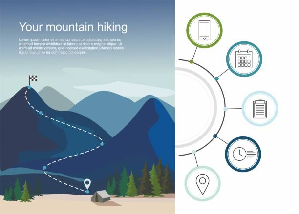 Hiking route infographic with a five steps. Layers of mountain landscape with fir trees Hiking route infographic with a five steps Layers of mountain landscape with fir trees. Vector Illustration mountain climbing stock illustrations