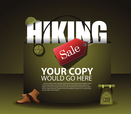 Hiking sale shopping bag background EPS 10 vector