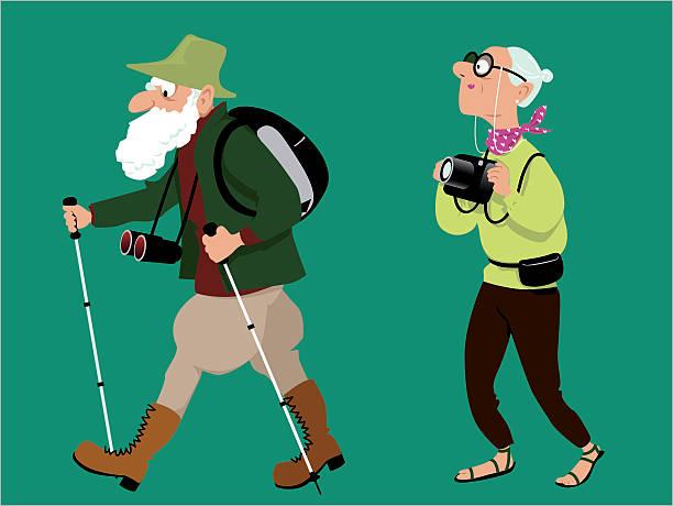 hiking seniors - bird watching stock illustrations, clip art, cartoons, & icons