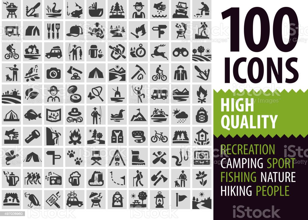 hiking set black icons. signs and symbols vector art illustration