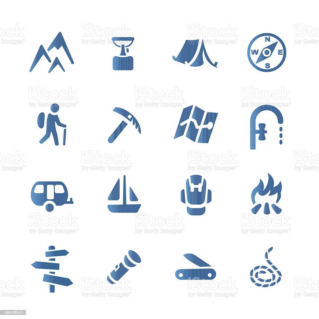Hiking set icons vector art illustration
