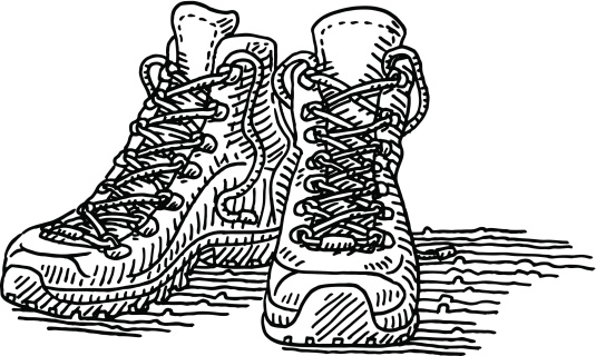 Hiking Shoes Pair Drawing