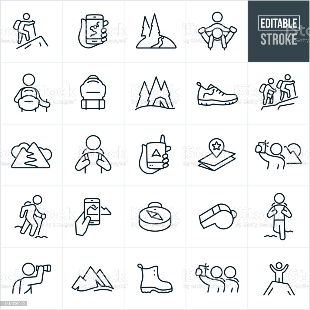 Wandern Thin Line Icons - Editable Stroke - Lizenzfrei Abenteuer Vektorgrafik