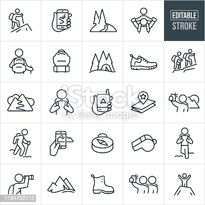 A set of hiking icons that include editable strokes or outlines using the EPS vector file. The icons include a person hiking, two people hiking, a map on a mobile phone, mountain trail, piggyback ride, hiker with backpack, backpack, tent, hiking shoe, hiker, gps device, map, selfie, mountain range, panorama, taking pictures, compass, whistle, sightseeing, hiking boot and a man at the summit of a mountain to name a few.