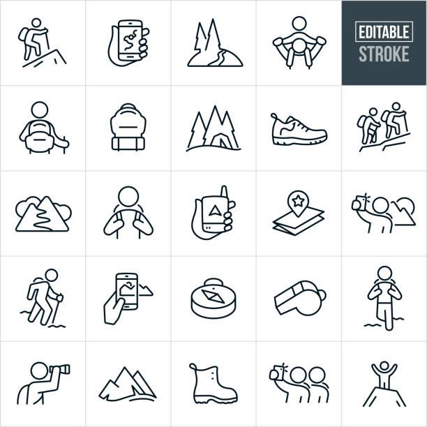 ilustraciones, imágenes clip art, dibujos animados e iconos de stock de iconos de línea fina de senderismo - trazo editable - excursionismo