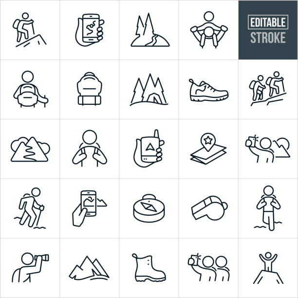 Hiking Thin Line Icons - Editable Stroke A set of hiking icons that include editable strokes or outlines using the EPS vector file. The icons include a person hiking, two people hiking, a map on a mobile phone, mountain trail, piggyback ride, hiker with backpack, backpack, tent, hiking shoe, hiker, gps device, map, selfie, mountain range, panorama, taking pictures, compass, whistle, sightseeing, hiking boot and a man at the summit of a mountain to name a few. hiking stock illustrations