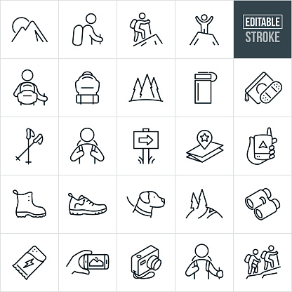 Hiking Thin Line Icons - Editable Stroke