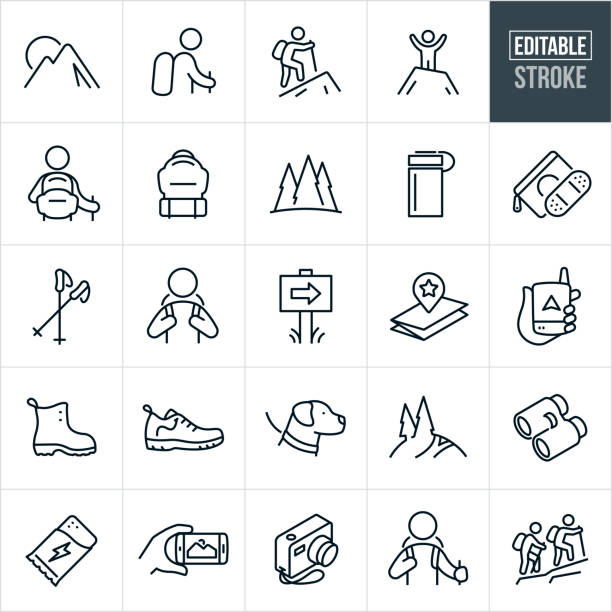 Hiking Thin Line Icons - Editable Stroke A set of hiking icons that include editable strokes or outlines using the EPS vector file. The icons include a mountain range, hiker with backpack and hiking pole, hiker hiking up a mountain, hiker at top of mountain, backpack, outdoors scene, forest, water bottle, first aid kit, hiking poles, mountain trail, map, GPS device, boots, hiking shoes, dog on a leash, binoculars, protein bar, camera and two people hiking up a trail. hiking stock illustrations