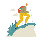 Hiking Tourist in the Mountains Adventure. Traveling Man with Backpack Walking and Trekking. Tourism Concept with Backpacker Character. Vector flat cartoon illustration