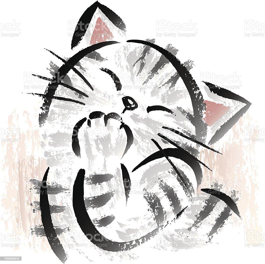 Hilarious cat royalty-free stock vector art
