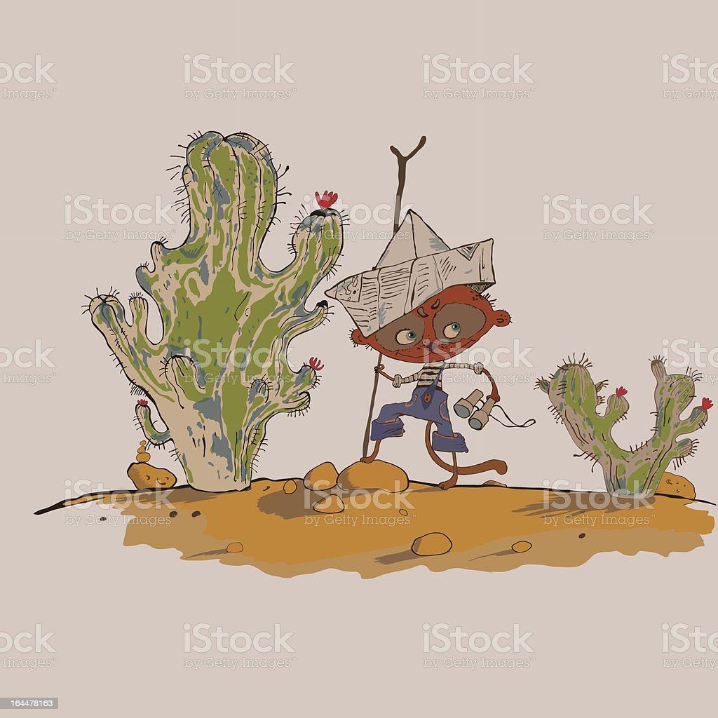 lustige meerkats junge in der wüste stock vektor art und