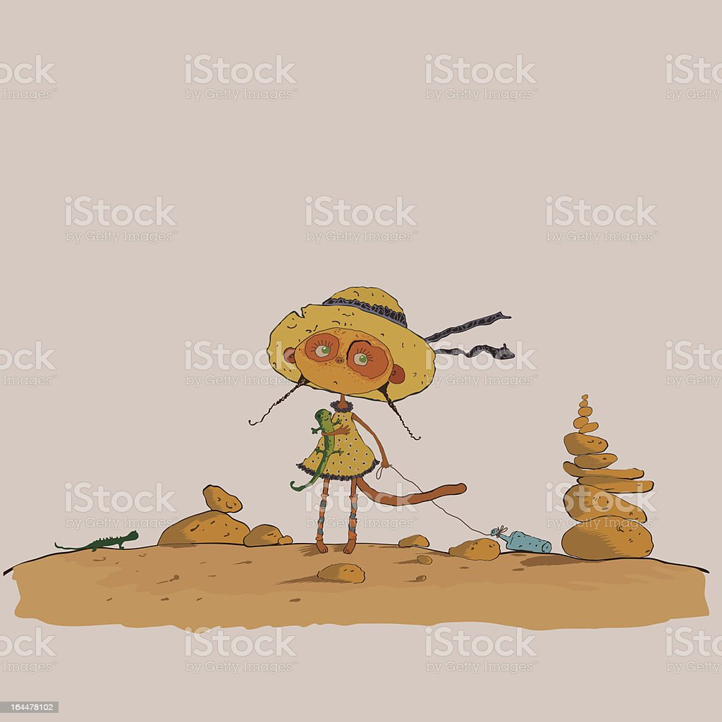 hilarious meerkats girl in the desert vector art illustration