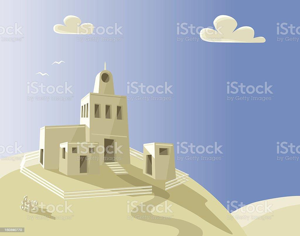 Hill house vector art illustration
