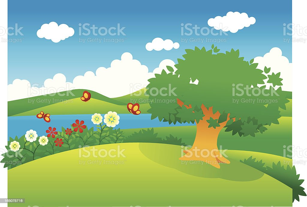 Hill landscape royalty-free stock vector art
