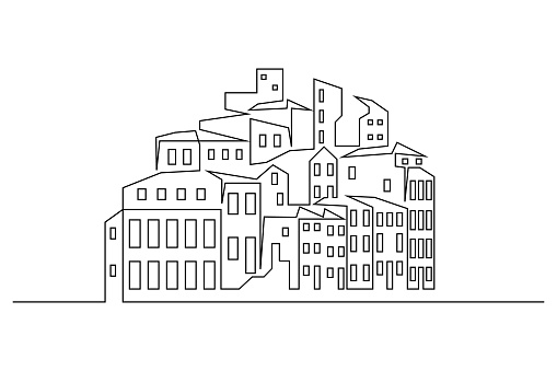 Abstract drawing of town on the hill in line art drawing style. Small hilltop settlement black linear design isolated on white background. Vector illustration