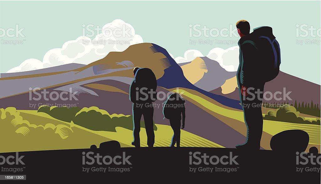 Hill walkers vector art illustration
