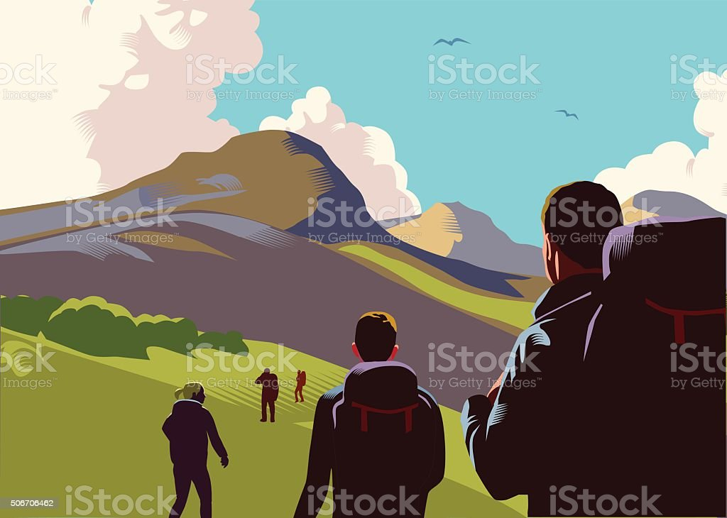 Hill walkers vector art illustration