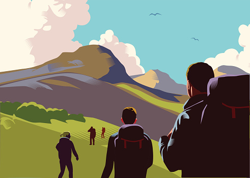 Hiking stock illustrations