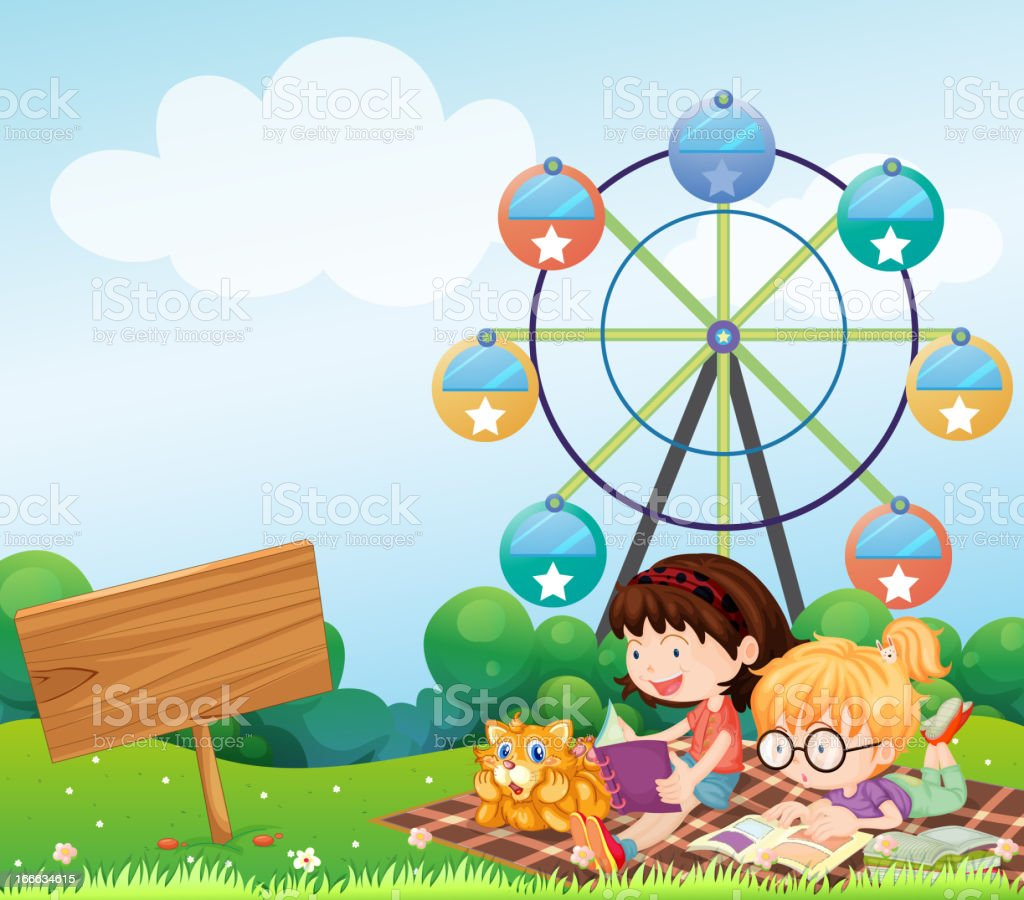 Hill with two girls and an empty board royalty-free stock vector art