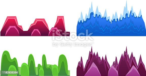 Hills and Mountains Set, Landscape Elements For Mobile Games Interface Vector Illustration on White Background.