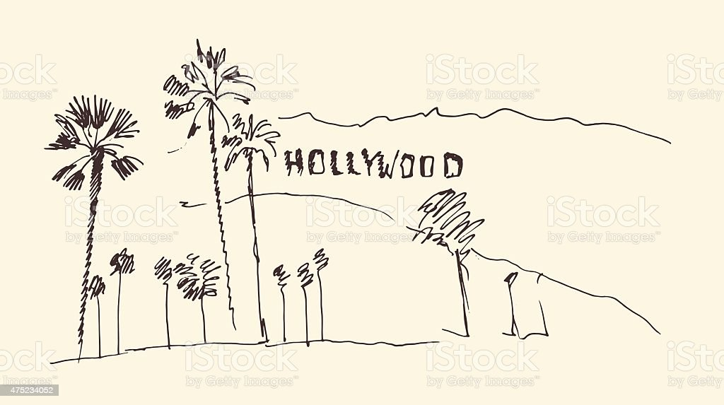 hills and trees engraving vector illustration, hand drawn, sketch, hollywood vector art illustration