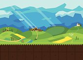 Hills and Valley. Game vector flat background