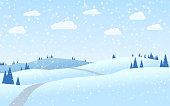 A group of hills - Flat design winter landscape