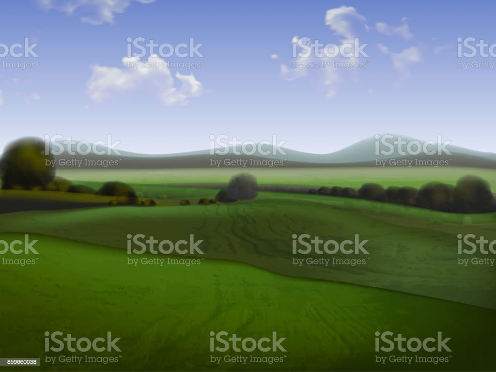 Hilly landscape with fields, high detailed illustration vector art illustration