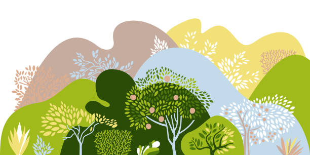 Hilly landscape with trees, bushes and plants. Growing plants and gardening. Protection and preservation of the environment. Earth Day. Vector illustration. Hilly landscape with trees, bushes and plants. Growing plants and gardening. Protection and preservation of the environment. Earth Day. Vector illustration. adventure backgrounds stock illustrations