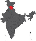 Himachal red on gray India map vector