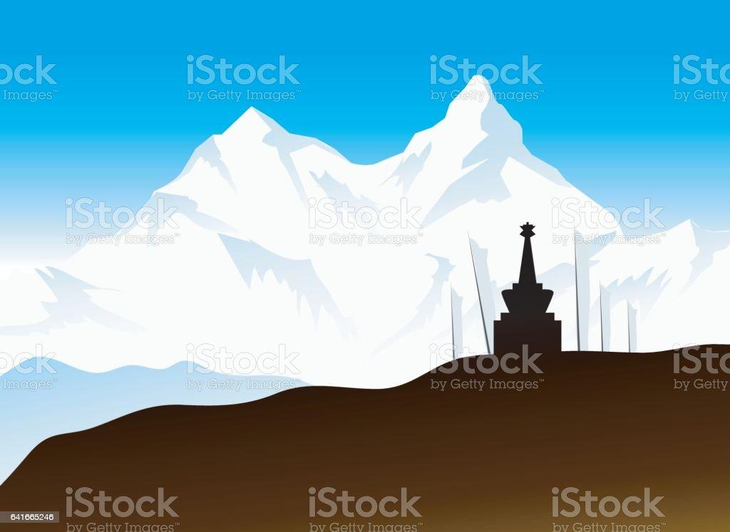 Himalaya Landscape vector art illustration