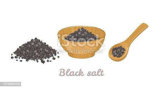 Sal de roca negra del Himalaya en cuenco de madera, cuchara y montón aislado sobre blanco. Ilustración vectorial de la sal de lava negra hawaiana en estilo plano de dibujos animados.