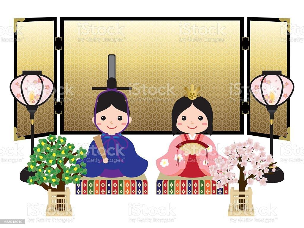 Hina doll decorating in Japanese traditional culture 'Hina Matsuri' - ilustração de arte vetorial