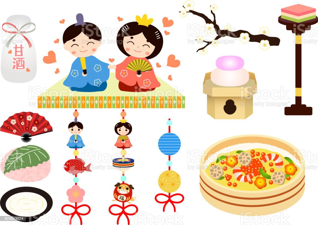 Hinamatsuri set 2 vector art illustration