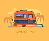 Car trailer on summer beach with palm trees. Hind carriage for summer trip or journey, vacation travel. Mobile caravan for family summer leisure, motorhome at seaside or ocean. Summertime theme