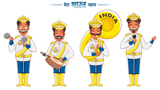 Hindi Text Mera Bharat Mahan (My India Is Great) with Indian Parade Soldiers Band and Singing on White Background.
