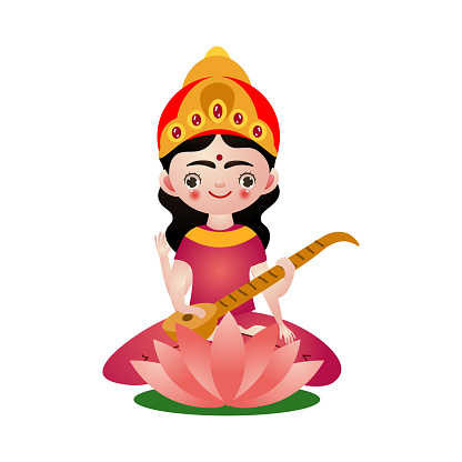 Hindu deity with four hands playing sitar vector illustration