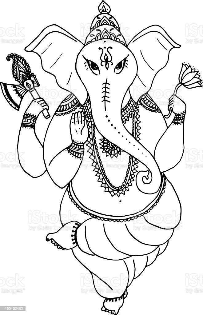 Kleurplaat Ganesh Hindu Elephant God Lord Ganesha Patron Of Arts Sciences