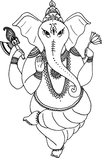 Hindu elephant  God Lord Ganesha, patron of arts,  sciences